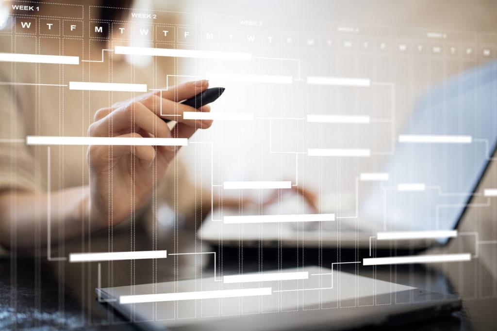 Tableau de gestion de projet sur écran virtuel